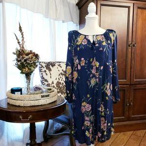 🧿 Floral Peasant Midi Dress